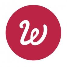 Logo Whisperies : lettre stylisée blanche sur un cercle de couleur rouge.