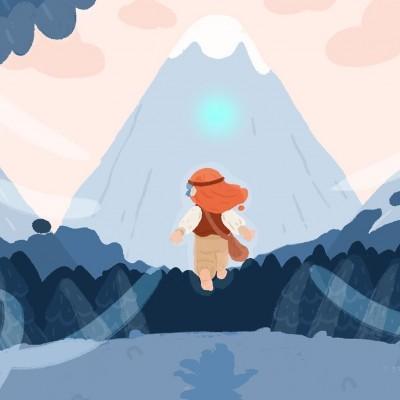 Illustration d'un personnage de petite fille courant dans les bois.