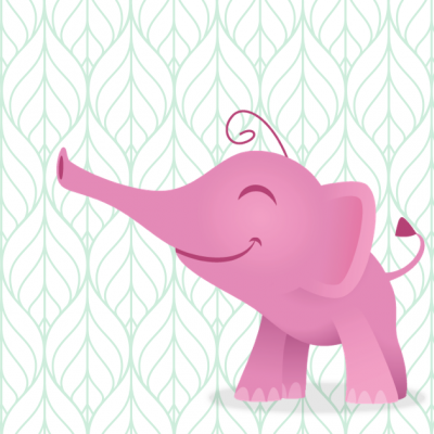 Un éléphanteau rose souriant