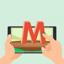 Illustration d'une main touchant un écran de tablette.
