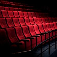 Des rangées de fauteuils d'une salle de cinéma.