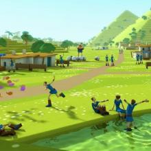 Bandeau Godus : personnages du jeu assis au bord d'une rivère, maisons et arbres en arrière-plan