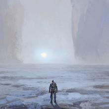 Illustration d'un homme seul sur une planète inconnue.