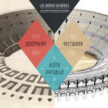 Accueil du webdocumentaire : personnages de deux époques rassemblés autour d'un plan en coupe des arènes de Nîmes
