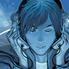 Personnage style manga écoute de la musique dans un casque. Le dessin est tout en nuances de bleus