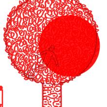 silhouettes rouges d'éléments d'une ville