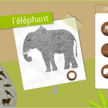 Interface du jeu. À gauche, la sélection de l'animal. Au centre, le jeu concernant l'animal et à droite les choix multiples proposés