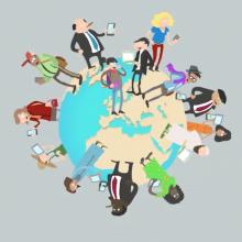Personnages utilsiant des outils numériques positionnés sur un globe terrestre.