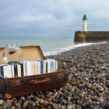 Valise déposée sur une plage contenant des livres et un bocal à poisson rouge. Au loin on aperçoit un phare