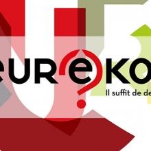 """Lettres de couleurs entremêlées constituant un fond pour afficher le logo original d'Eurêkoi (lettres stylisées noires avec au centre un point d'interrogation rouge encerclant la lettre """"ê"""")."""
