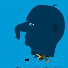 une tête d'homme bleue avec une trompe à la place du nez, différents pieds sous le cou et qui saute des obstacles