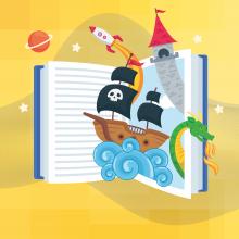 Illustration des éléments d'un livre prenant vie.