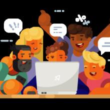 Illustration de personnes réunies autour d'un ordinateur portable.