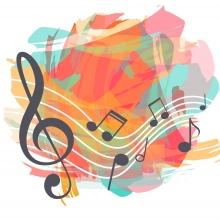 Une aquarelle colorée avec des notes de musique
