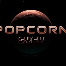 """Page d'accueil du jeu. Une planète rouge au dessus de laquelle on peut lire """"Popcorn SyFy"""""""