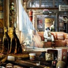 Écran de jeu de Popcorn TV : cabinet de curioisité composé de multiples objet et personnages.