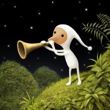 Illustration en couleur représentant un personnage en costume blanc soufflant dans une corne (décor bucolique avec un ciel étoilé).