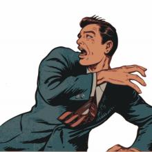 homme d'affaire (style comics) effrayé par quelque chose hors-cadre à gauche.