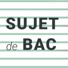 Logo du site. Le mot Sujets de Bac superposé sur des lignes horizontales vert pastel