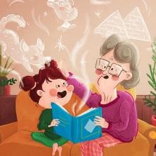 Dessin d'une grand-mère racontant des histoires à sa petite-fille
