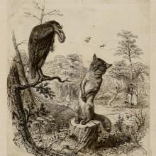 gravure représentant le conte le corbeau et le renard