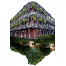 Affiche officielle du festival Travelling 2021 - un bâtiment typique de la Nouvelle Orléans se reflète dans l'eau