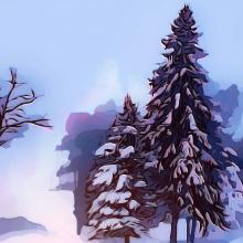 Dessin d'arbres recouverts de neige