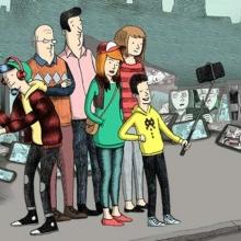 Illustration d'une famille rassemblée entourée d'écrans.